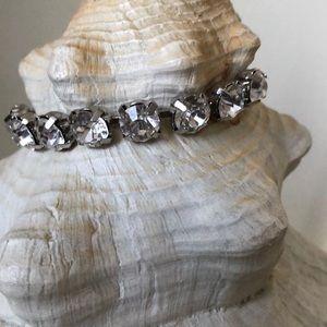 Pretty rhinestone and silver tone bracelet